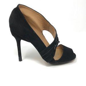 L.A.M.B. Peeptoe Stiletto Heels Sz 7.5 Black Suede